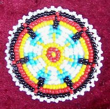 """EAGLE FEATHERS WHITE"" NATIVE AMERICAN BEADED ROSETTE"
