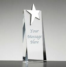 Personalised Engraved Glass & Silver Plated Star Award Trophy - Dance Sports