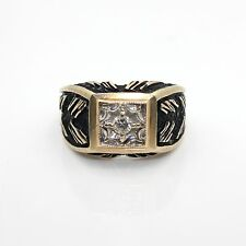 Extremely Unique Vintage 14k Yellow Gold Ring w/ 10pt Diamond & Black Antiquing