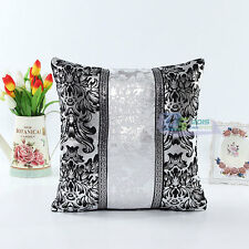 Car Decor Black &White Shining Sequins Leather Throw Pillow Case Cushion Cover