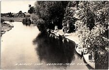 Old GRAYLING Michigan Mich Real Photo RPPC Postcard Boats People Homes River