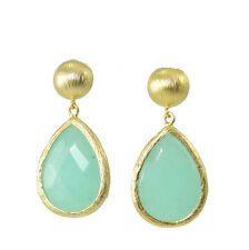 Hand Crafted Drop Earrings Green Chalcedony Natural Stone Gold Tone 42mm Drop