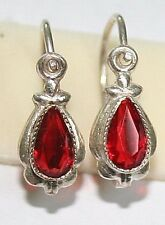ANTIQUE VICTORIAN SILVER PEAR RED PASTE SMALL BEAUTIFUL FLOWER EARRINGS 1900