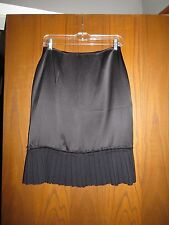NWT St. John Evening $655 Black Satin Silk Santana Knit Pleated Trim Skirt 2