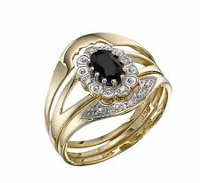 9ct Gold Sapphire & Diamond Bridal Set , 3 Rings. Size N