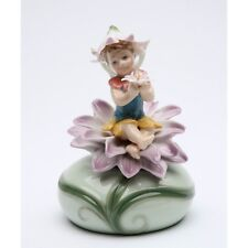 """NEW PORCELAIN FAIRY MUSICAL PURPLE FLOWER """"EVERYTHING IS BEAUTIFUL"""" MUSIC BOX"""