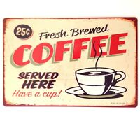 RETRO METAL WALL SIGN TIN PLAQUE VINTAGE SHABBY CHIC COFFEE KITCHEN GIFT SHOP