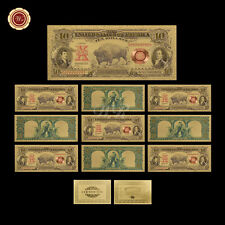 "10pcs/Lot 1901 US $10 Ten Dollar Gold Bill ""Bison Note"" 999 Gold Banknote +COA"