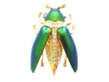 New Genuine Brooch Jewelry Green Scarab Beetle Insect Brass Pin Wood Boring Bug