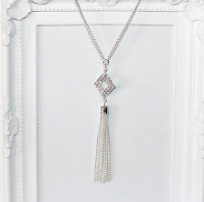 Flapper/Gatsby/1920's long silver necklace with diamanté pendant and tassel