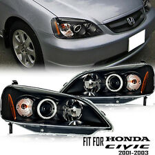 HALO PROJECTOR HEADLIGHT BLACK HONDA CIVIC 2/4DR COUPE / SEDAN 2001-2003