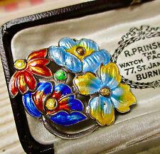 Vintage joyas de plata de ley Esmalte Flor Broche/Pin (a.h.d & S)