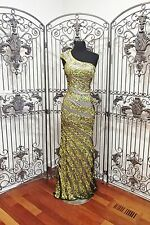 BD317  PRIMAVERA 9697 SZ 6 OLIVE $338 #9552  PROM FORMAL  DRESS GOWN NWT