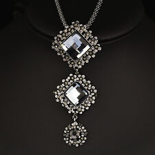 Vintage Gray Glass Square Pendant Necklace Black Long Chain Women Statement 2017