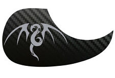 Tribal Dragon Guitarra Acústica De Carbono Negra Pickguard scratchplate, Plata