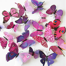 12pcs 3D Butterfly Sticker Wall Mural Decals Decor Room Decorations Purple