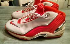 Mens Nike Max UpTempo basketball shoes, white and orange, size 12