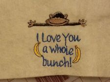 Personalized Embroidery Baby Blanket  Monkey
