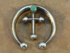 Old Style Navajo Sterling Silver & Turquoise Naja Pendant Eugene Mitchell