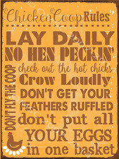 Sun Protected Chicken Coop Rules Metal Sign, Perfect for the Coop, Poultry, Eggs