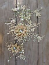 "16-1/2"" Gold 3D Embroidery Sequin Rhinestone Flower Sewing Appliqué Trim Patch"