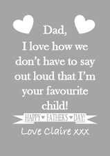 Favourite child funny humour Mum Dad joke print personalised gift birthday xmas