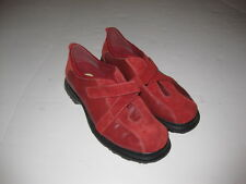 Earth Shoe Red Leather Suede Loafers Oxfords Shoes Women 7