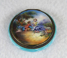 ANTIQUE GERMAN STERLING SILVER ENAMEL POWDER COMPACT