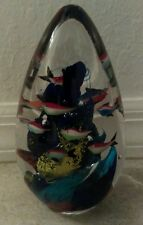 MURANO GLASS Fish Aquarium Egg-shaped paper weight 7in.tall