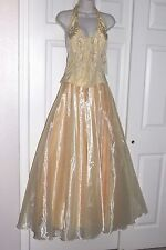 NWT Aspeed Soft Yellow Pastel Bridal Formal Ball Prom Pearls Beaded Gown Dress L