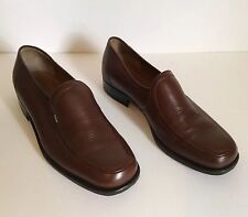 CHRISTIAN DIOR Men Shoes Size 7 VINTAGE Brown Leather Moccasins Loafers Formal