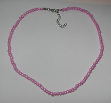 "16"" PRETTY PINK GLASS PEARL SEED BEAD NECKLACE PEARLY"