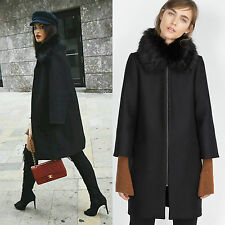 ZARA WOMAN BLACK CAPE COAT JACKET BLAZER WITH FUR COLLAR SIZE SMALL S NEW