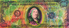 Old $100 Hundred Dollar Bill by Steve Kaufman SAK 19/50 CP 15x37 Painting