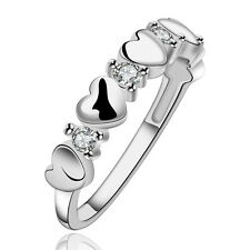 Girls Fashion 925 Sterling Silver Plated Heart Ring Weding Classic Gift Size 8