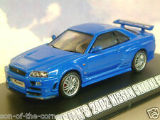 GREENLIGHT 1/43 BRIAN'S BLUE 2002 NISSAN SKYLINE GT-R GTR FAST & FURIOUS 4 86219