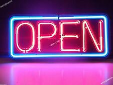 Neon Open Sign Real Glass Hand Blown Made Window or Wall Business FAST FREE SHIP