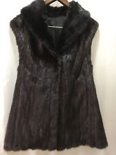 Dark Brown- Black Real Mink  Fur Vest Coat Jacket Ladies M-L,10,12 Swing
