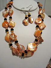 Two Strand Orange Mother Of Pearl And Black Faceted Glass Bead Necklace Earring