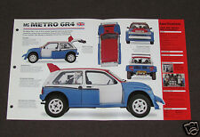 1981-1985 MG METRO 6R4 (EVOLUTION) Rally Car SPEC SHEET BROCHURE PHOTO BOOKLET