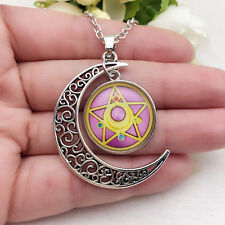 NEW Anime Sailor Moon Glass Hollow Moon Shape Pendant Silver Tone Necklace