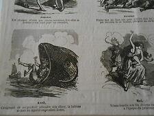 Caricature 1862 de 12 vignettes dont 1 sur La Baleine avalant Jonas