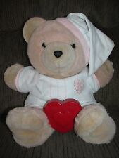 Vintage 80's Chosun Heart to Heart Bear Teddy Bear Plush Stuffed Animal Pink