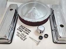 SB Chevy SBC Chrome 350 Stamped Logo Engine Dress Up Kit W/ Short Valve Covers