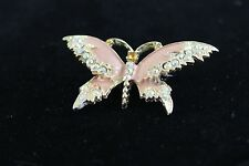 Vintage Butterfly Enamel Rhinestone Brooch Pin