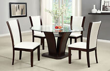 Furniture Of America Manhattan I Round Dining Table And White UPH Chairs 5Pc Set