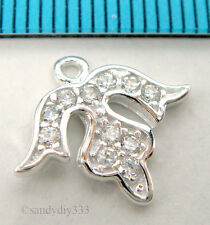 1x BRIGHT STERLING SILVER  CZ CRYSTAL FLOWER DANGLE CHARM 14.5mm #2254