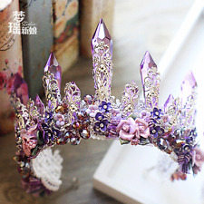 Purple Retro Luxury Crystals Bridal Crown Tiara Wedding Bride Hair Accessories