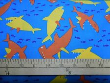 "1 yard Free Spirit  ""Sharks on Blue"" Fabric"