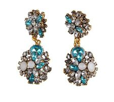 ZARA SPARKLING RHINESTONES DROP DANGLE EARRINGS - NEW OPAL WHITE BLUE